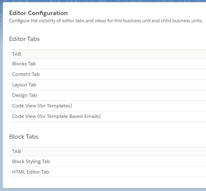 Editor Configuration interface