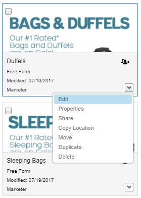 Content edit menu