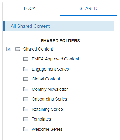 Example of folders in Content Builder