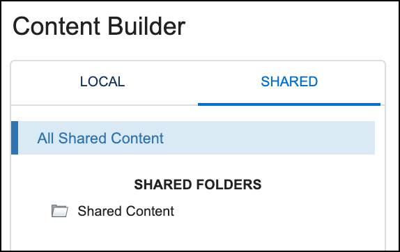 Content Builder Local and Shared tabs
