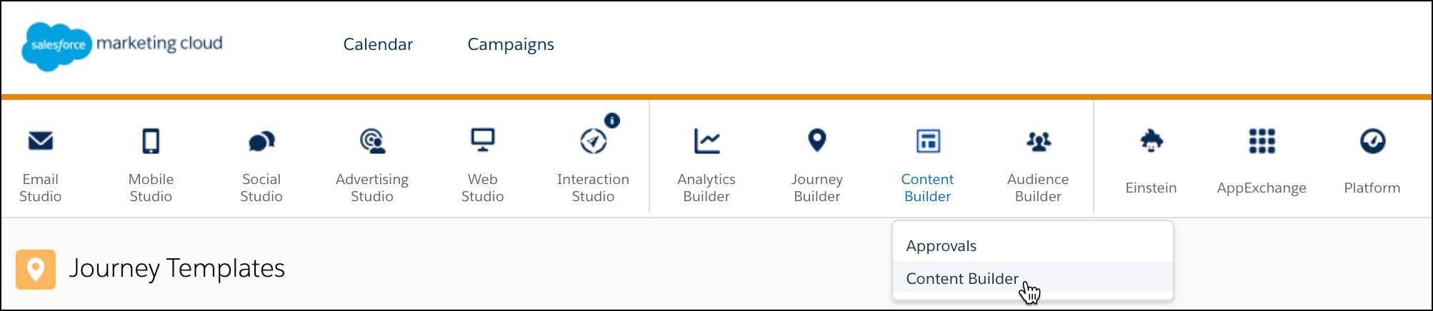 Marketing Cloud navigation menu.