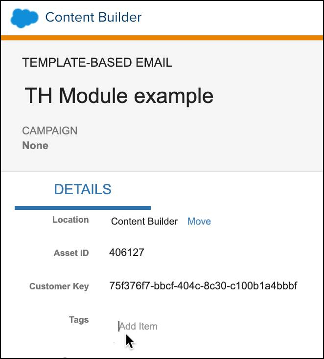 Template email with tags field being selected.