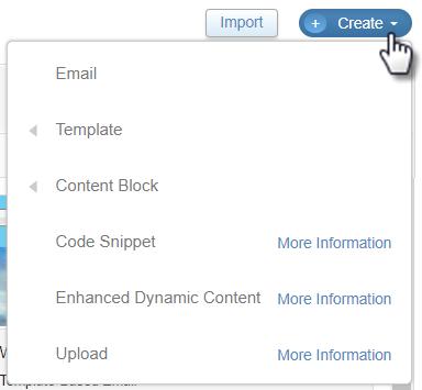 Create content menu
