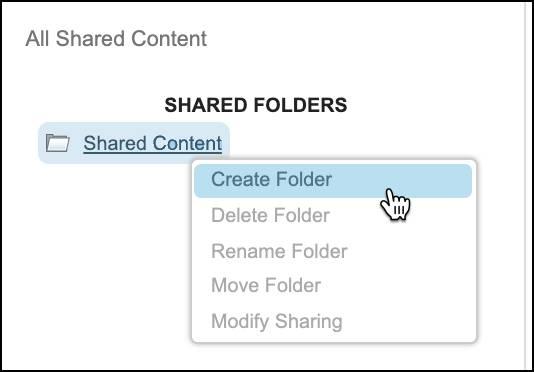Création d'un dossier dans ContentBuilder