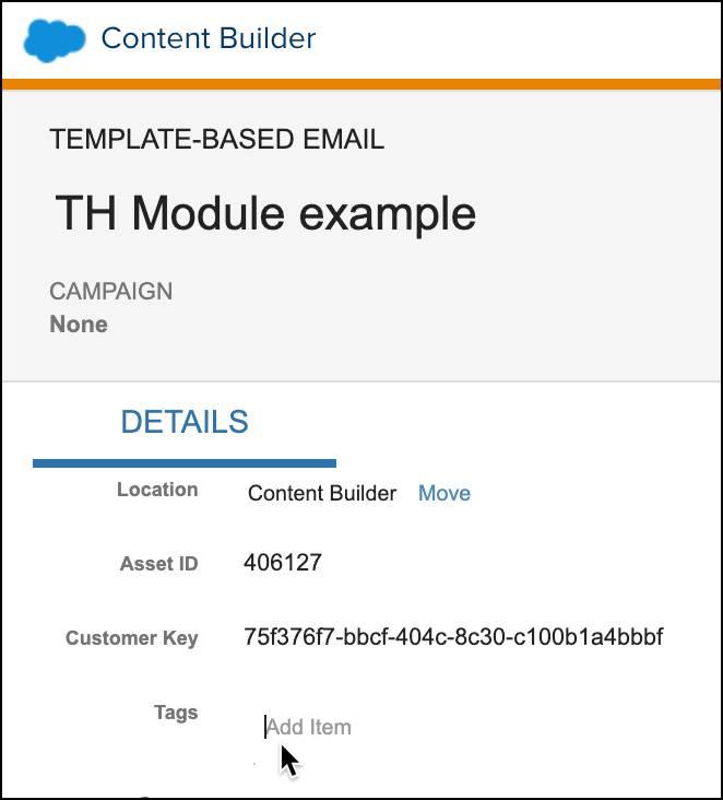 [タグ] フィールドが選択されているテンプレートメール。