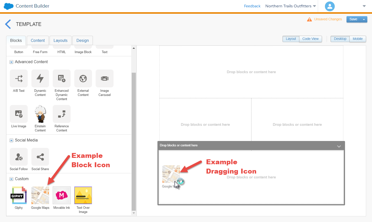 The Content Builder UI with arrows pointing at examples of the block icon and dragging icon