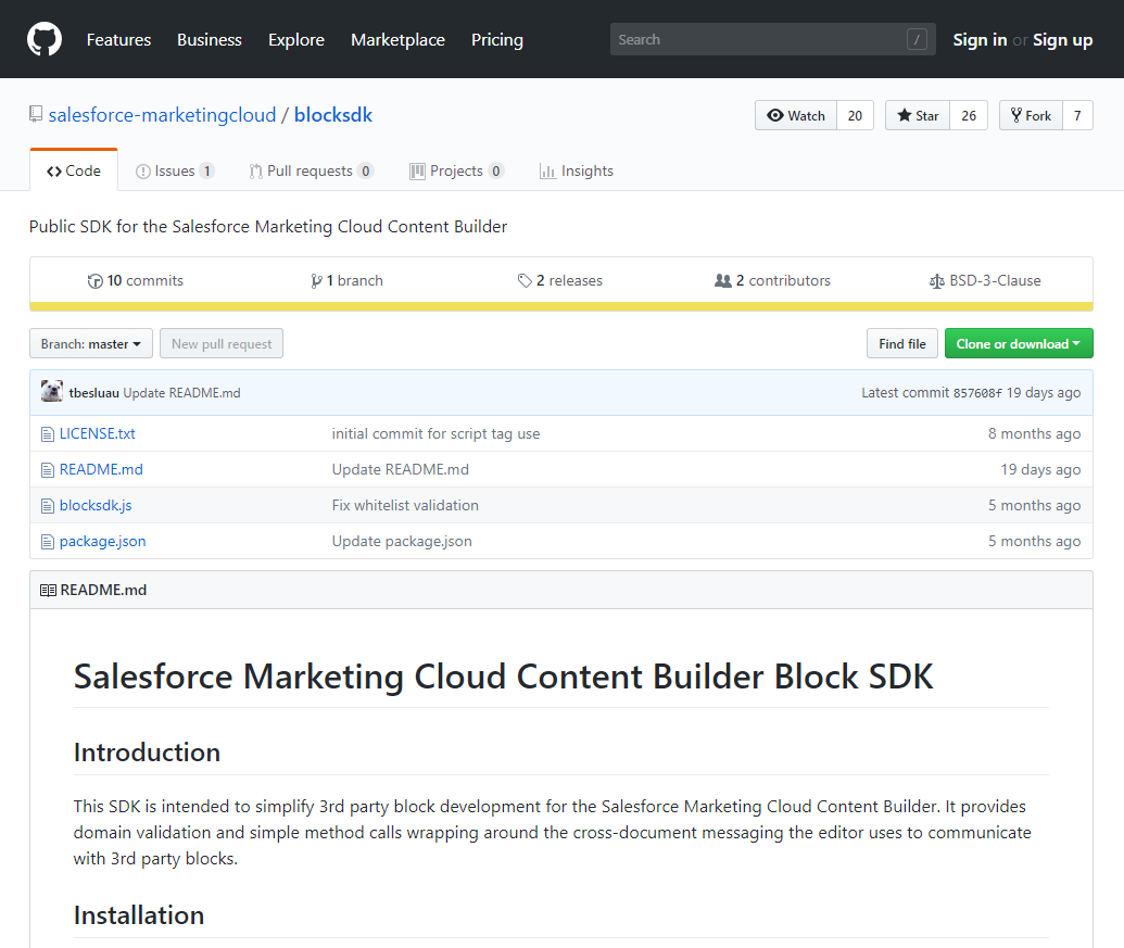 The Content Builder Block SDK GitHub repository interface