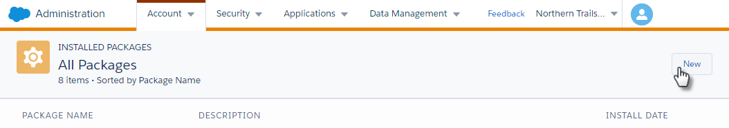 Marketing Cloud Administration interface for installing a new package