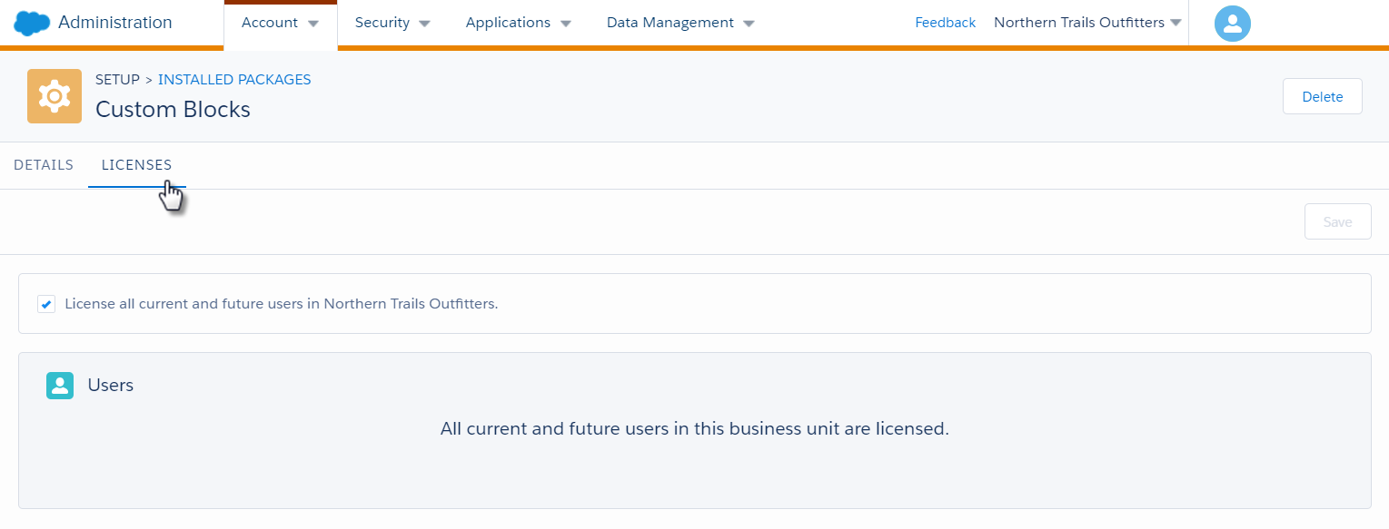 Marketing Cloud Administration interface with cursor clicking the Licenses tab to grant user access to custom block