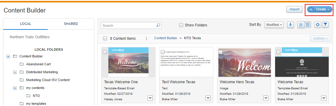Content builder interface with the Create button highlighted.