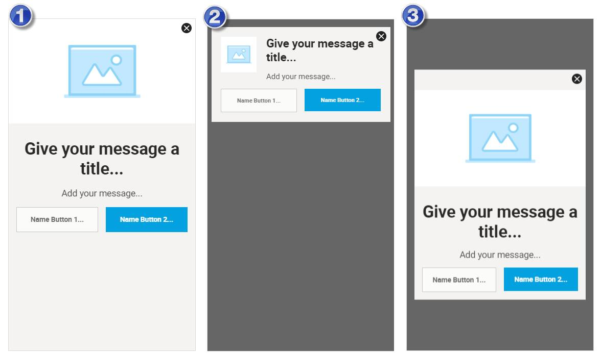 Examples of the three in-app message layouts: full-page, banner, and modal.