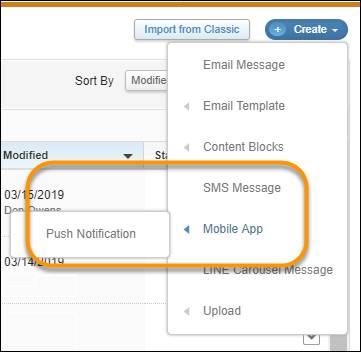 Le menu Créer de ContentBuilder, avec les options relatives aux messages mobiles suivantes mises en évidence: Message SMS et Application mobile, accompagnée de la sous-option Notification automatique