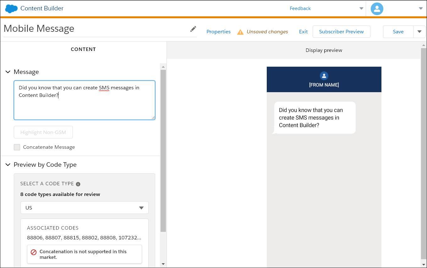 L'interface de ContentBuilder permettant la création d'un nouveau message SMS.