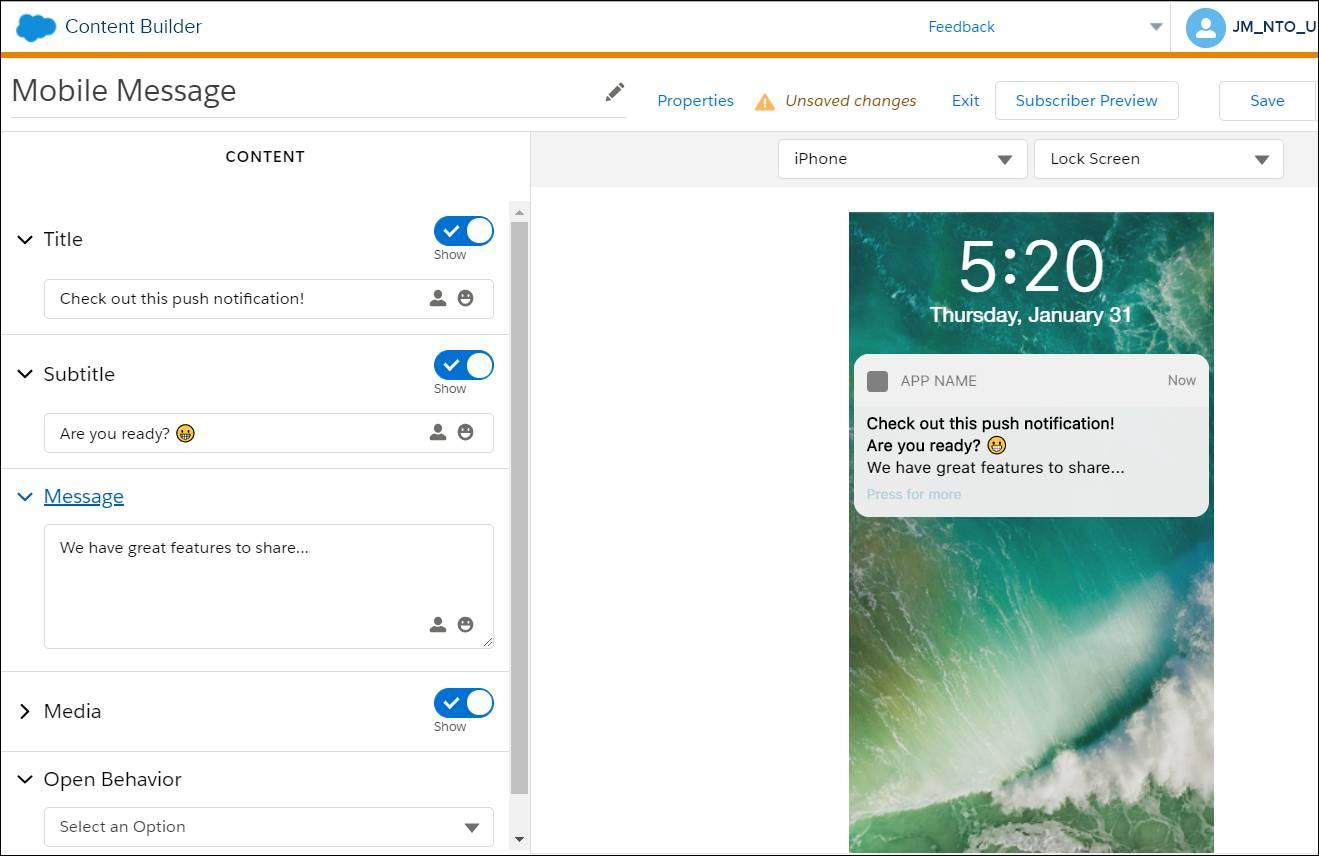 L'interface de ContentBuilder, où l'on peut voir le brouillon d'une notification automatique.