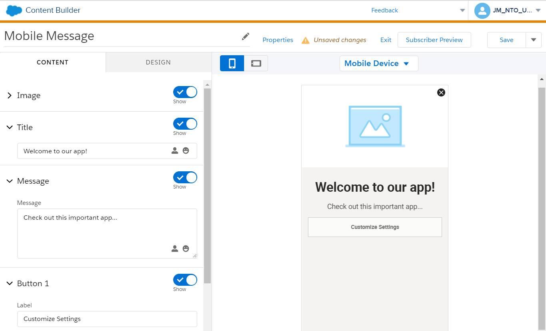 L'interface de ContentBuilder permettant la création d'un nouveau message dans l'application.