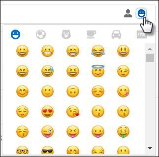 Image représentant le curseur d'une souris cliquant sur l'icône d'emoji pour insérer des emojis et des visuels divers dans le message.