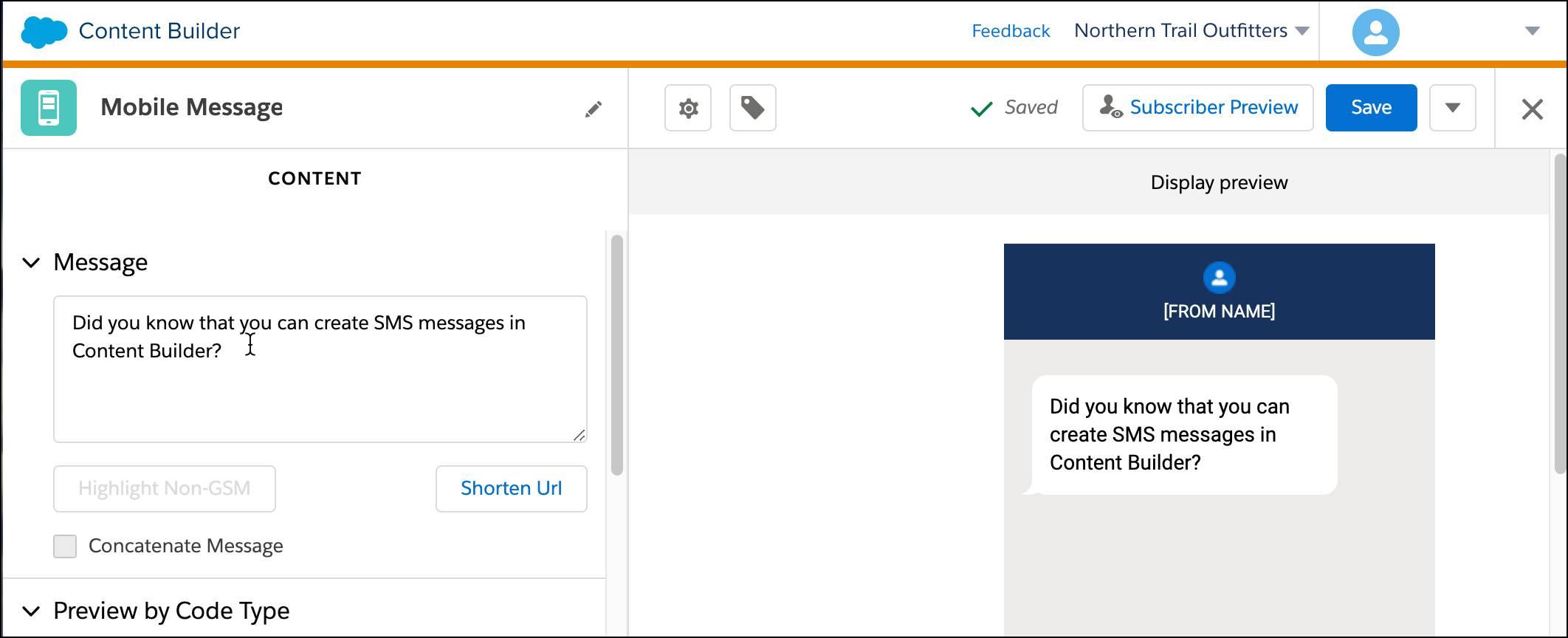 新しい SMS メッセージを作成する Content Builder インターフェース。
