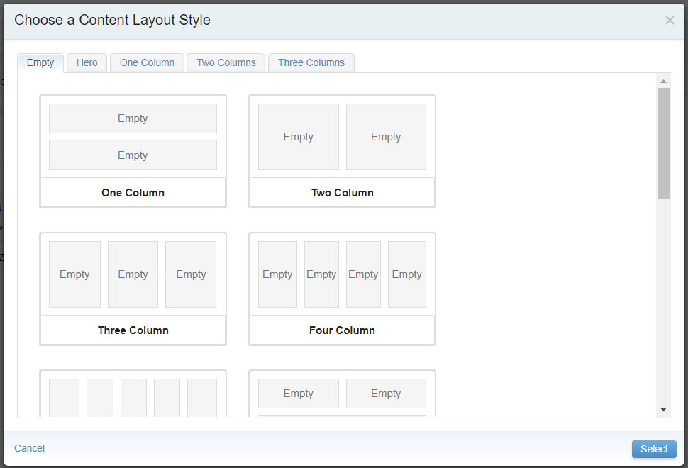The interface for choosing a layout style