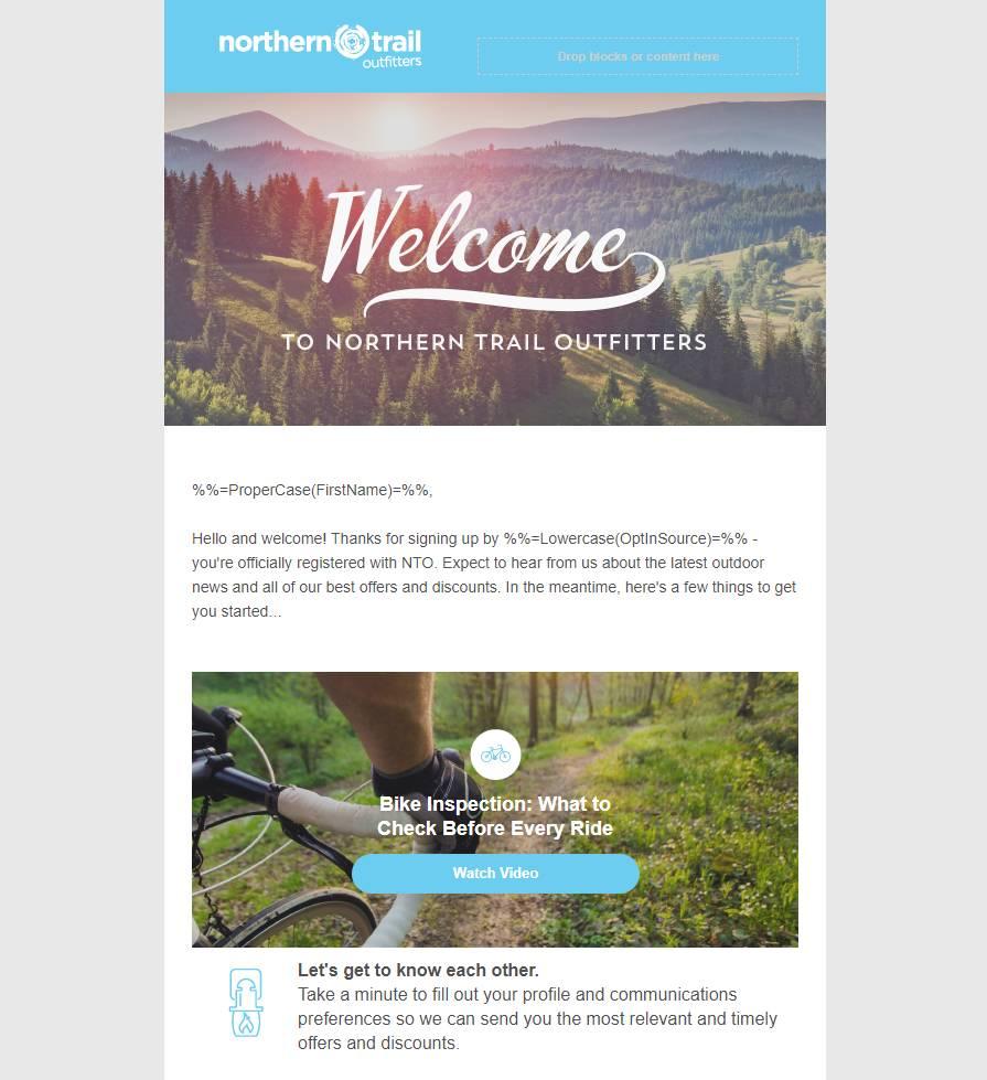 Le modèle pour NorthernTrailOutfitters créé dans ContentBuilder.
