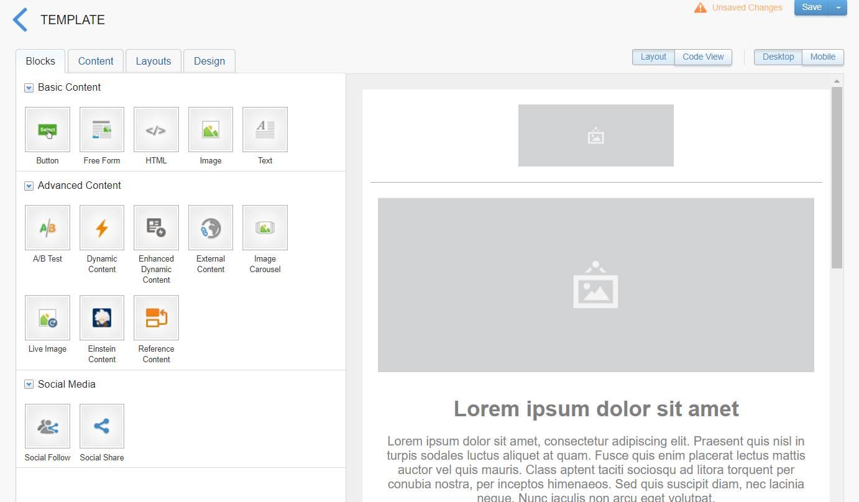 L'interface proposant différentes options pour créer un modèle.