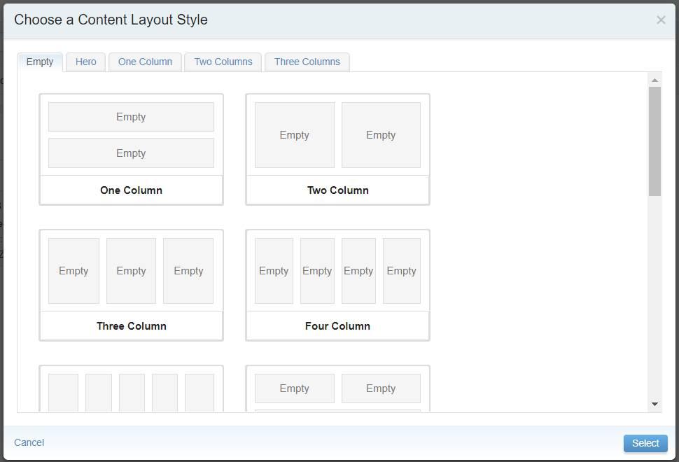 L'interface permettant de choisir un style de présentation.