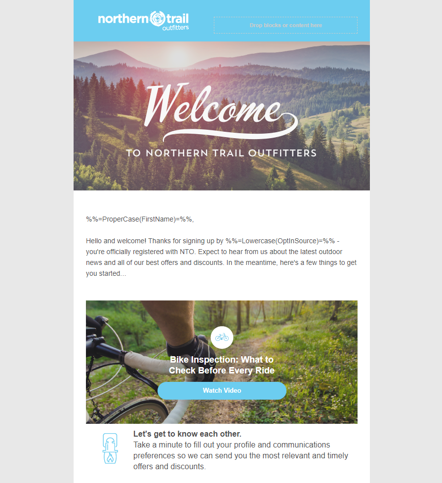 Content Builder で作成した Northern Trail Outfitters のテンプレート。