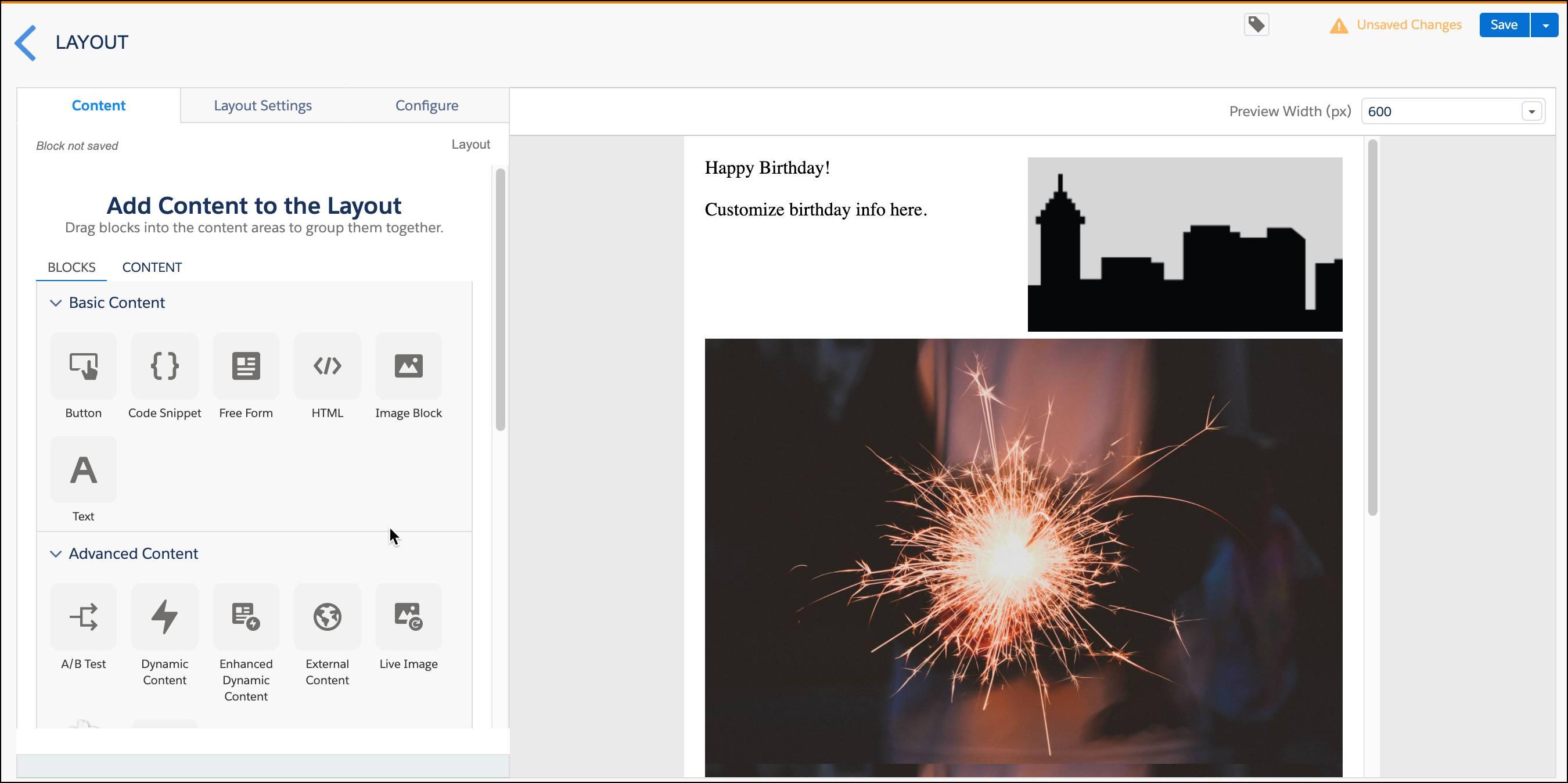 誕生日メールのレイアウト。