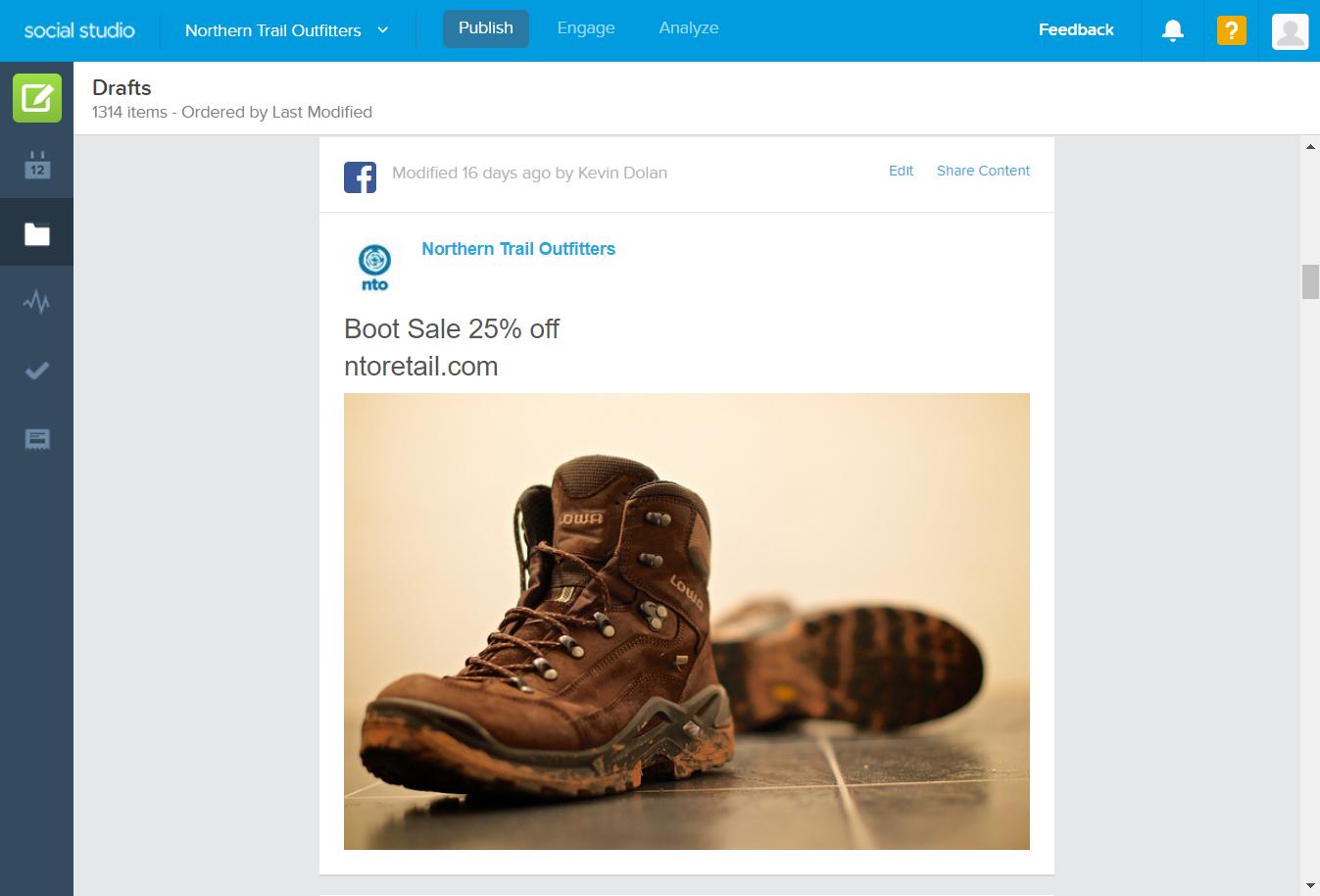 The Drafts folder interface in Social Studio