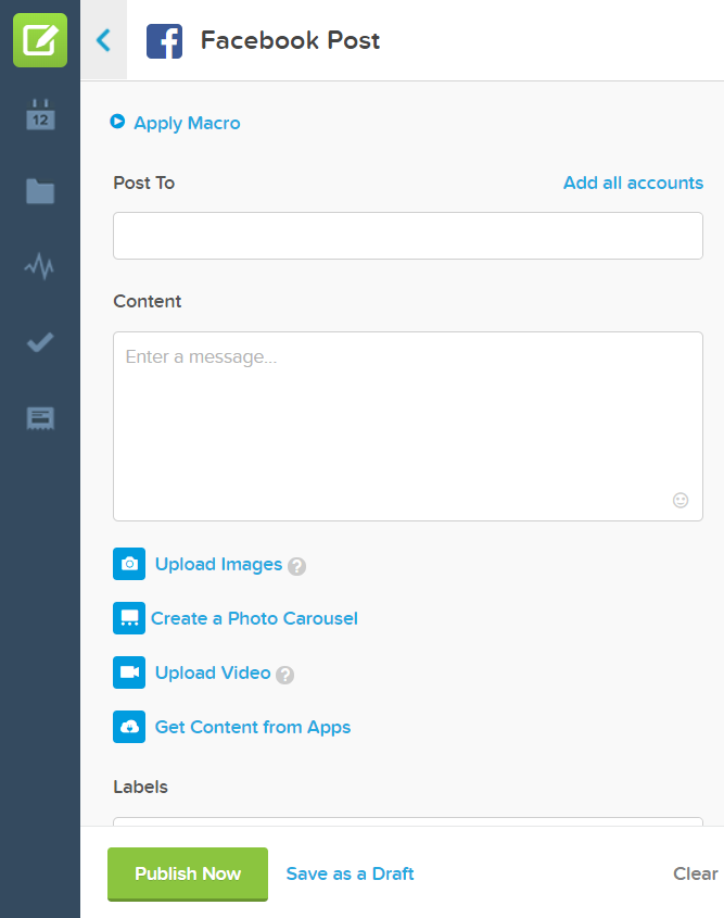 The interface for creating a Facebook post
