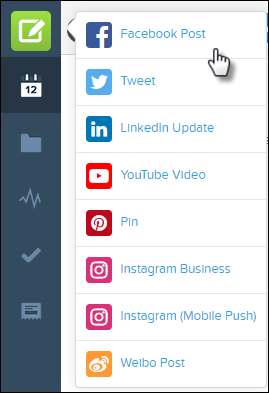 Interface to select a social platform and create a post.