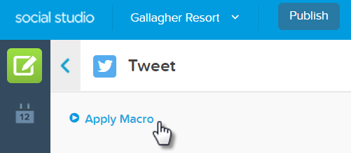 The Apply Macro link in the post creator interface