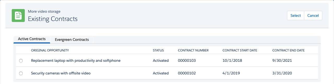 Existing Contracts page with new column