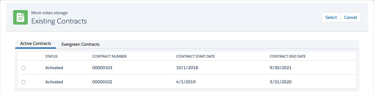 Existing Contracts page