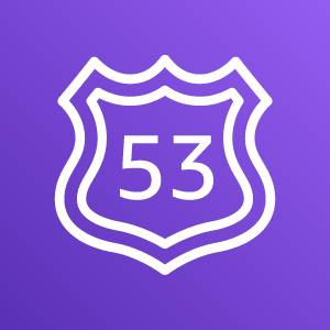 Amazon Route 53 icon depicting a US traffic route shield with the number 53 against a purple background