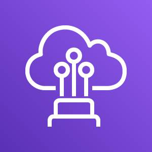 AWS Direct Connect icon depicting a physical structure connecting to a cloud through Ethernet cables against a purple background