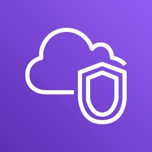 Amazon Virtual Private Cloud icon depicting a cloud and shield against a purple background