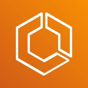 Amazon ECS icon depicting a hexagon with two sides sectioned off representing a container against an orange background