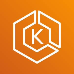 Amazon EKS icon depicting a hexagon with two sides sectioned off and the letter K in the middle against an orange background