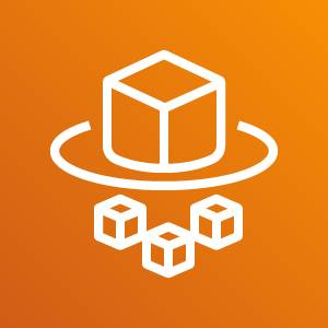 Fargate icon depicting a cube sitting on a circular pad with three smaller cubes below against an orange background