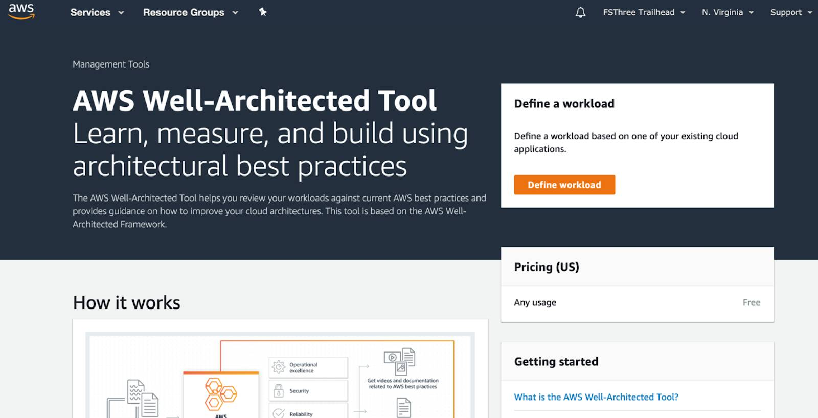 AWS Well-Architected Tool screen