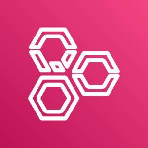 AWS Well-Architected Tool icon depicting three adjacent hexagons with bisecting lines against a magenta background