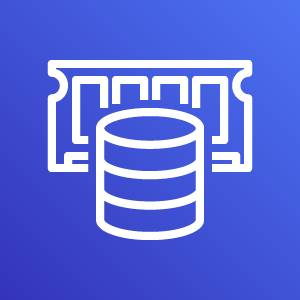 Amazon ElastiCache icon depicting a database in front of a stick of RAM against a blue background