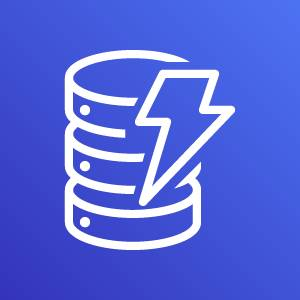 Amazon DynamoDB icon depicting a database with a lightning bolt against a blue background