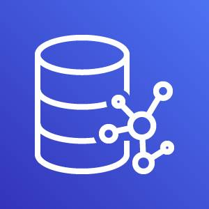 Amazon Neptune icon depicting a database with interconnected circles against a blue background