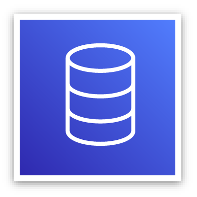 Database services icon depicting a cylinder divided into three sections against a blue background