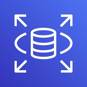 Amazon RDS icon depicting a database in a horizontal oval with four diagonal arrows pointing outward against a blue background