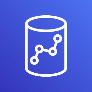 Amazon Redshift icon depicting a database with four circles connected by lines against a blue background