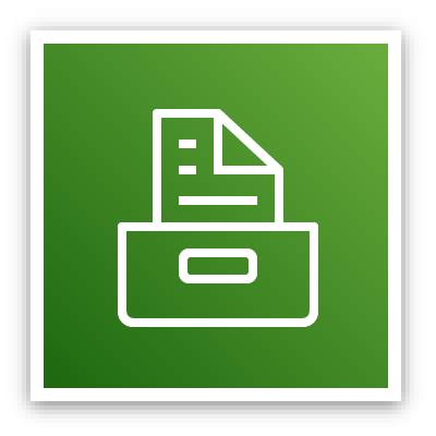 Storage service category icon depicting a file cabinet drawer with a document protruding against a green background