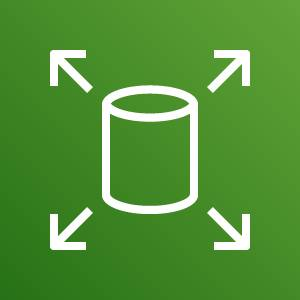 Amazon Elastic Block Store icon depicting a database with arrows pointing outward against a green background