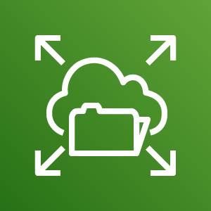 Amazon Elastic File System icon depicting a folder in the cloud with arrows pointing outward against a green background